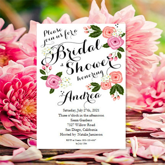 Garden Bridal Shower Invitations Printable Bridal Shower