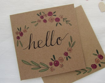 Hello Floral Hand Illustrated Card
