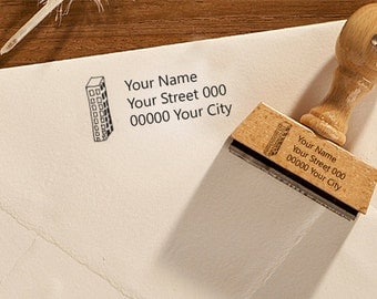 "Return address stamp ""Skyscraper"", address stamp, personalized stamp, name stamp, rubber stamp, wooden stamp, 327"