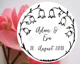 """Personalized wedding stamp """"bellflower"""", wedding DIY, wedding announcement stamp, save the date stamp, personalized stamp,  834"""