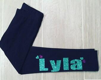 Girls personalized leggings, custom girl leggings, name leggings, glitter name leggings, toddler girl leggings, girl gift