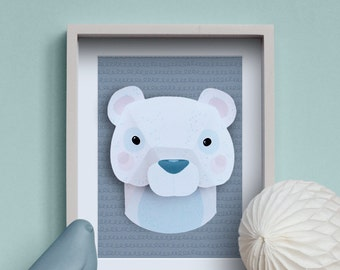 Eisbär - kreative DIY Kit Tier Trophäe-Papier