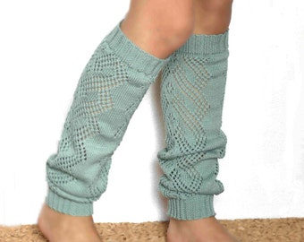 Women Leg warmers in Mint green / Boot cuff / Mint green boot socks / Urban clothing / Knit leg wear / geometric dance leg warmers