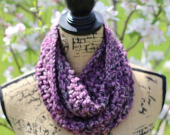 Infinity Scarf, Chunky Scarf, Two-Toned Purple/Pink Color, Winter Scarf, Gifts for Her
