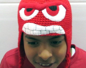 Super Cool Inside Out, ANGER Inspired Knitted Hat, All Sizes