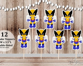 Action Superhero Boy Party - Set of 12 Boy Wolverine Inspired Double Sided Cupcake Toppers