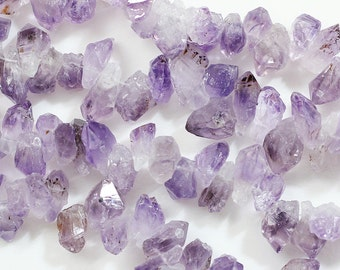"15.5"" Raw Top Drilled Amethyst Bead-rough loose bead"