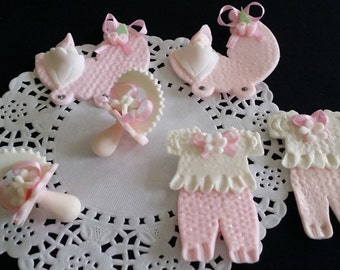 Baby Cake Decorations, Baby Shower Decoration, Cupcake Topper, Baby Girl Decoration, Pink Baby Shower, Pacifiers Favors, Baby Cupcake Topper