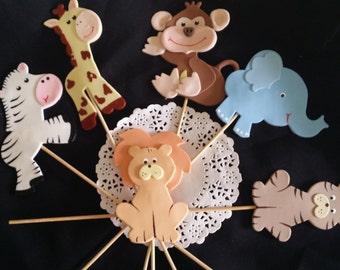 Safari Cake Topper, Baby Animals Centerpiece, Animals Cake Decor, Cake Topper, Zoo Animals, Safari birthday, Jungle Birthday, Baby Animals