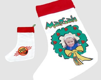 Personalized Custom Photo Holiday Christmas Stocking