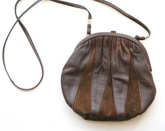 Vintage 1980's  Leather Brown Crossbody Bag