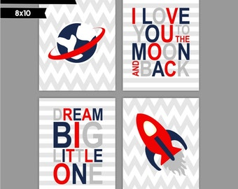Red, Navy Baby Boy Nursery art prints, Set of 4 8x10, Dream Big Little One, I love you to the moon ( S810200 )