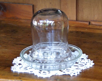 "Two Piece Glass Bird/Chick Feeder  ~ Bird Feeder ~ Vintage/Antique ~ Clear Glass ~ 6"" x 6"" ~ Unique Coffee Table Piece ~ 1920s?"