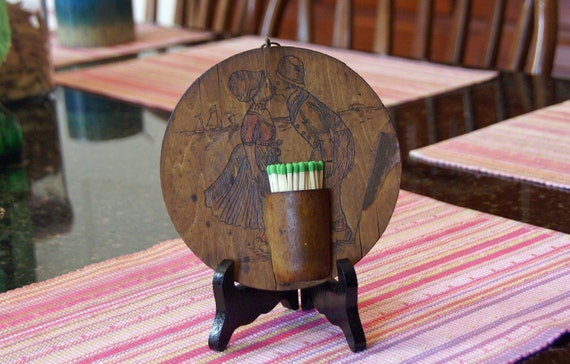 Wood match toothpick holder vintage 6 diameter - Wooden pocket toothpick holder ...