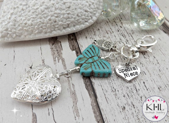 ... Filler, Christmas Gift Idea for Niece, Turquoise Bag Charm, Niece