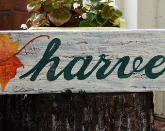 Harvest and Autumn Leaf Hand-painted on Whitewashed Wood