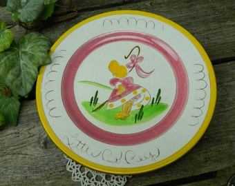 Vintage Stangl Pottery - Kiddieware - Pink Little Bo Peep Plate