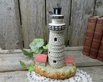 Vintage Lefton 1992 Hand Painted Lighthouse Table Lamp