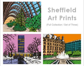 Set of 3 Sheffield Art Prints - Sheffield Landscape Prints - Full Collection - Bulk Discount - Buy More And Save 10GBP