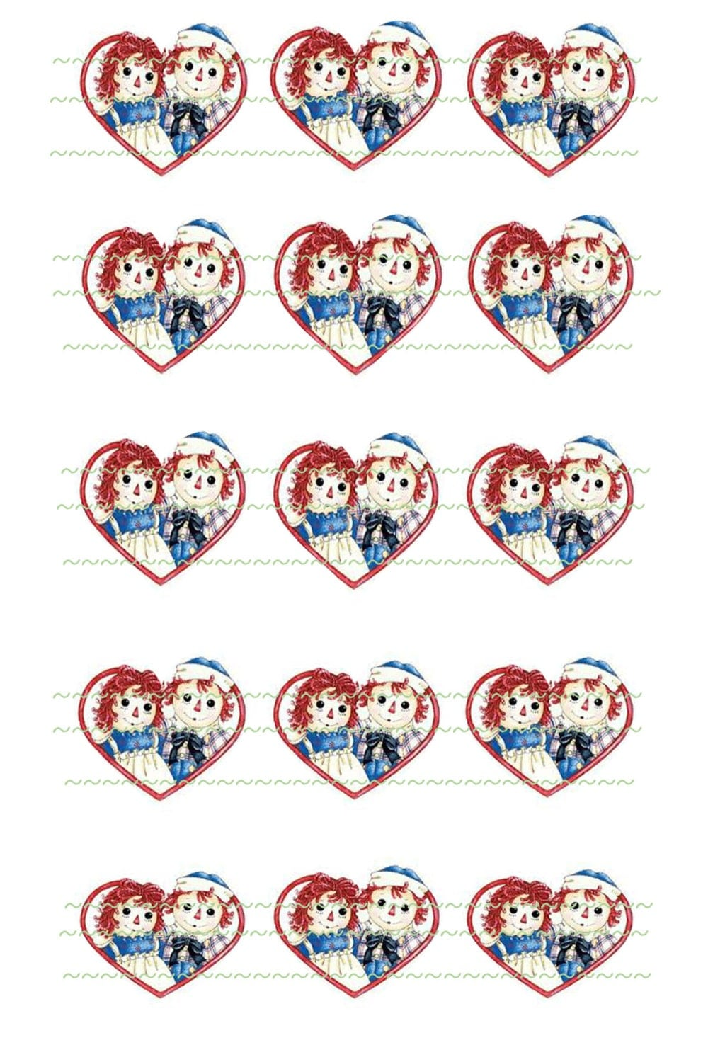 raggedy ann andy hearts instant download scrapbooking printable