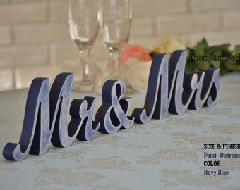 Rustic Wedding Decor- Mr and Mrs Wedding Signs, Mr & Mrs Wood Wedding Decoration, Navy Blue Wedding Decor