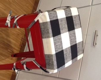 Black and white Buffalo Check Barstool Cushion Cover. Washable. Removable. Counter or bar stool seat cushion pad with XL ties to stay put.