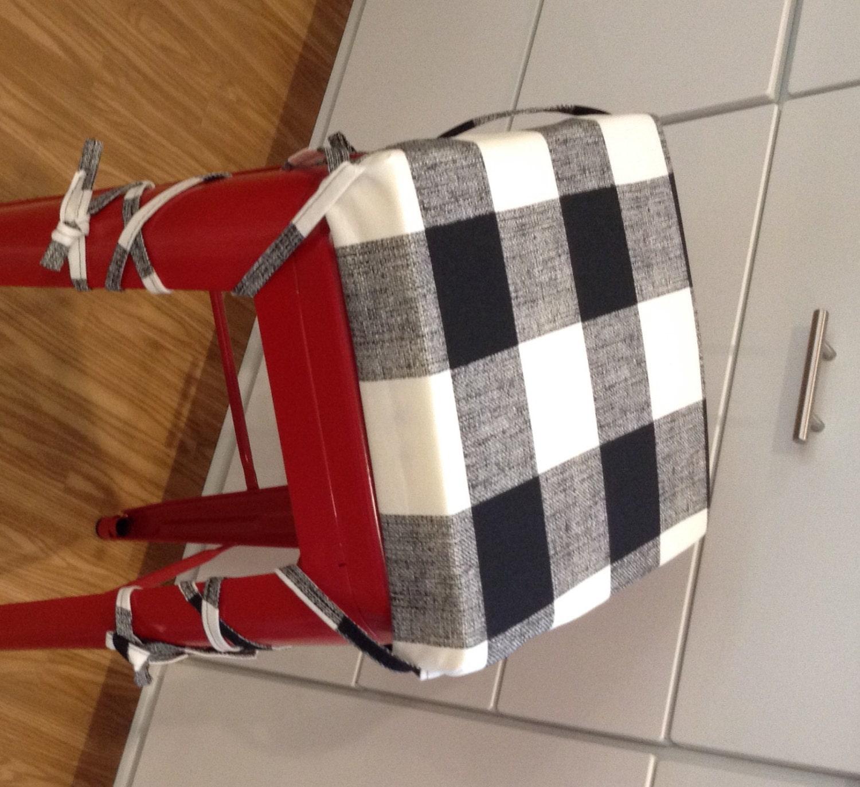 Black And White Buffalo Check Barstool Cushion Cover
