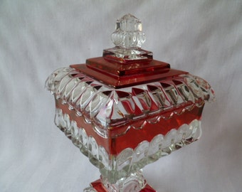 Beautiful Westmoreland Cranberry Glass Pedestal Covered Candy Dish Compote