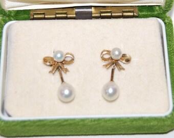 Vintage 14K Gold Pearl Ribbon Dangle Pierced Earrings Ear Rings 3 grams