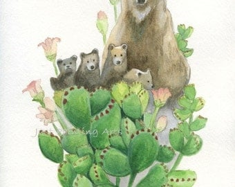 20% OFF Bear paws ,Succulent and bear family - Art Print 8.5 x11(letter size)