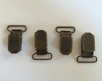 10 pcs Suspender Clips (dotted surface - antique brass) - Metal Pacifier Clips - Bib Holders
