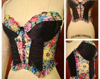 Vintage 90s sheer lace floral insert lingerie bustier corset wire top cage bust ruffle cropped fitted hook eye closure