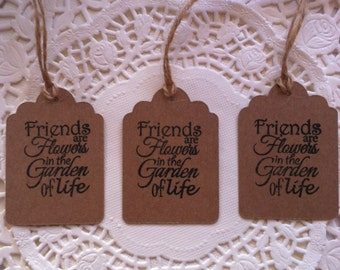 15 Hand-Stamped 'Friends' Wedding/Gift/Business Kraft Card Tags