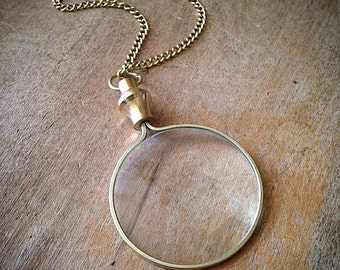 Shiny Gold Monocle Magnifying Glass Necklace - Shiny Brass/Bronze - Pendant Charm & Chain
