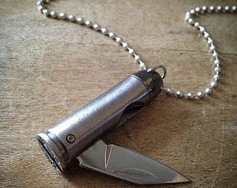 Bullet Knife Pendant Necklace Silver Bullet Casing, 44 Magnum Bullet Charm, Jewelry, Miniature Folding Knife