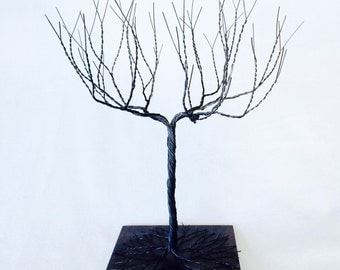 black large Jewelry Tree Stand,  wire tree sculpture.  perfect for necklaces , earrings ,  rings , etc.  display holder 13