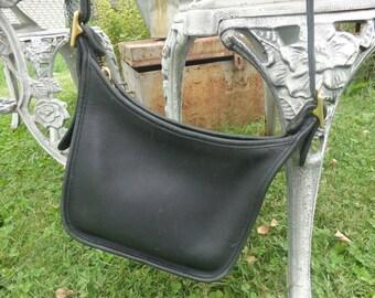 Authentic Vintage Coach Purse, Faded Distressed Black. Janice Legacy Bag, Black Leather/Cross Body/ Zip Top/Medium
