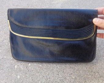 Vintage Black Leather Clutch 80s 90s Medium Size Fold Over Top Gold Accent