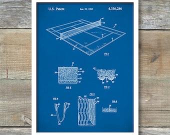 Tennis Court Patent, Tennis Court Poster, Tennis Court Art, Tennis Court Surface, Tennis Game Art, P217