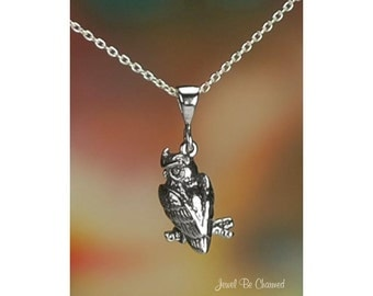 """Sterling Silver Owl on Branch Necklace 16-24"""" Chain or Pendant Only"""