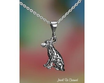 """Sitting Dalmatian Necklace Sterling Silver 16-24"""" or Pendant Only .925"""