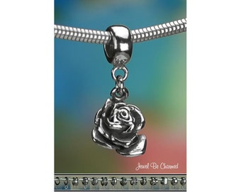 Sterling Silver 3D Rose Charm or European Style Charm Bracelet .925