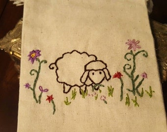 Hand Embroidered Cotton Muslin Bag 4x6 in