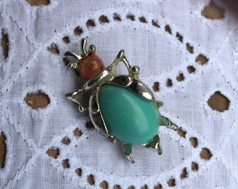 Funny vintage bug brooch - turquoise belly