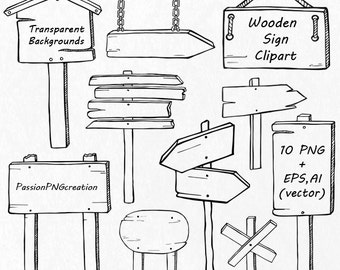 Hand Drawn Wooden Sign Clipart, Doodle signs clip art, PNG, EPS, AI, vector files, digital clipart, for Personal and Commercial Use