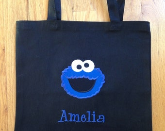 Personalized Cookie Monster Tote/ Bag - Different Color Options