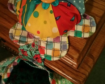 Handmade Pin cushion with hanging bag for supples and tools,  colorful