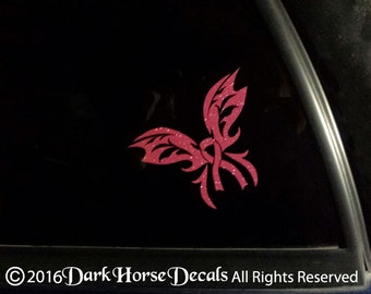 Breast Cancer Ribbon Butterfly Sparkly Vinyl Car Decal - Indoor/Outdoor Sticker
