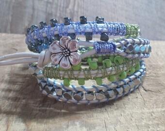 Leather Wrap Bracelet, Wrap bracelet, Boho Bracelet, Yoga Bracelet,