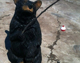 """32"""" Sitting Bear -Bear Art, Bear Sculpture, Big Bear carving - chainsaw carved bear, carved by wildlife family artists - Free Shipping!"""